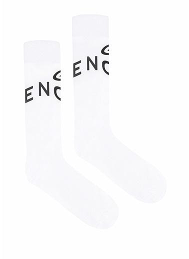 Givenchy Givenchy 101611369 Kontrast Logolu Jakarlı Erkek Çorap Beyaz